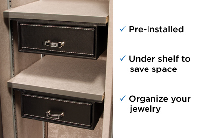 "Premium 20 Feature Two under-the shelf 6.5"" jewelry drawers installed!"