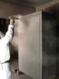 Powder is electrically charged to the safe